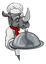 A Rhino Chef Mascot Cartoon Character Holding A Silver Platter Cloche Dome Of Food Peeking Round A Sign