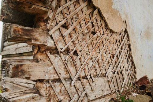 Obraz na plátne Wind damaged country church shows broken steeple
