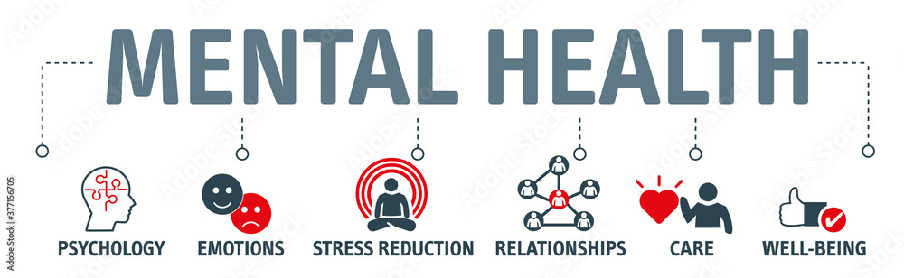 Fototapeta Mental health protection, resilience and care vector illustration banner