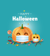 Happy Halloween Greeting Card Design. Cute Illustration With Pumpkins Wearing Face Masks For Protection From Coronavirus. - Vector