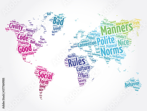 Manners word cloud in shape of world map, concept background Canvas-taulu