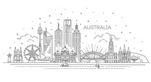 Australia Architecture Line Skyline Illustration. Linear Vector Cityscape With Famous Landmarks