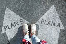 Choosing Between Plan A And Plan B. Woman Near Arrows On Road, Above View