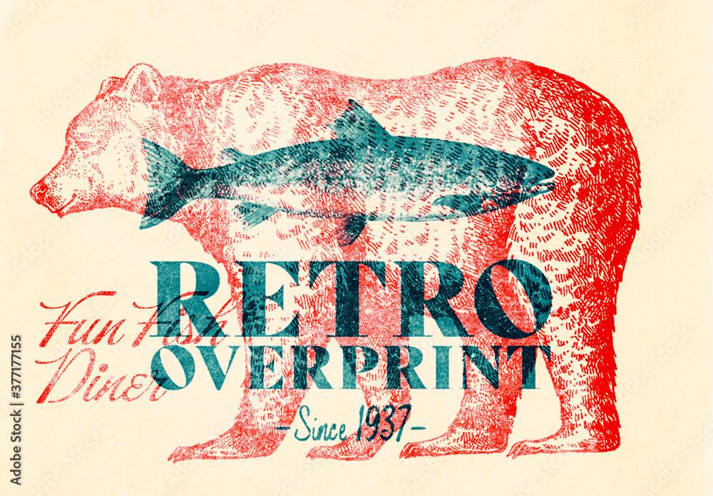 Fototapeta Retro overprint Effect