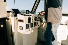 Steering Wheel On Little Fishing Boat