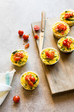Egg Muffins With Peas, Broccoli, Zucchini And Tomato
