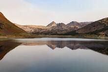Lake Reflection At Saddlebag Lake.