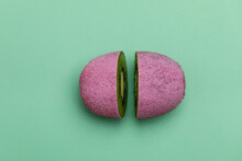 Cutted Pink Kiwi On A Green Ba...