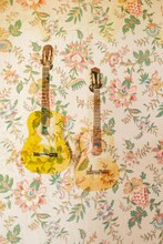 Stock Photo Double Exposure Of Guitar On Flowery Wall Paper