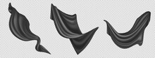 Flying Black Silk Fabric Isolated On White Background. Vector Realistic Set Of Billowing Velvet Clothes, Curtains Or Scarf In Blowing Wind. Luxury Black Textile Drapery, Flowing Satin Tissue