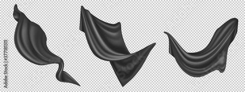 Flying black silk fabric isolated on white background Fototapet