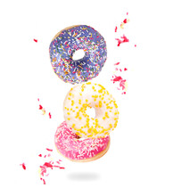 Fresh Colored Donuts Isolated On White Background
