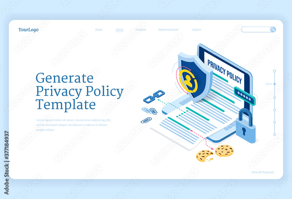 Fototapeta Privacy policy isometric landing page, data protection, digital security, personal confidential information online safety. Laptop with generated template, shield and lock 3d vector line art web banner