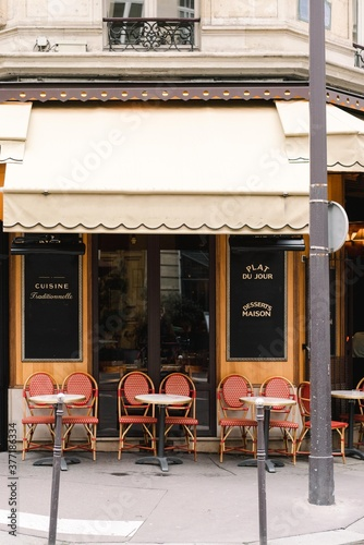 empty cafe in Paris - 377186334