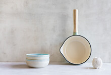 Saucepan, Two Ceramic Bowls And Ball Of String