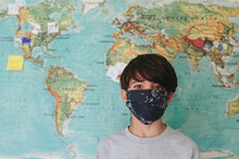 Portrait Of Child Wearing A Face Mask