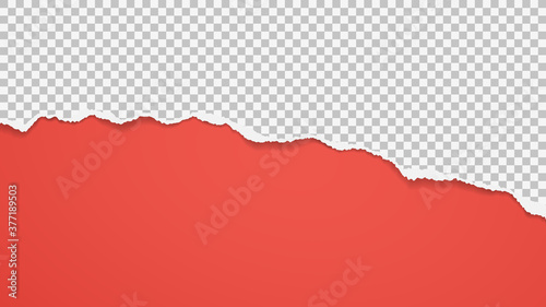 Torn square paper is on red background for text, advertising or design Canvas