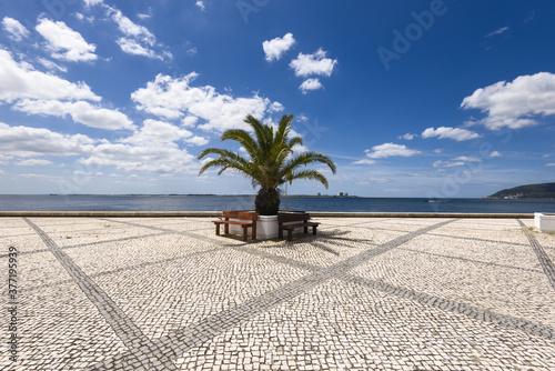 basalt pavement on a quay of the port of Setubal, Portugal Canvas Print