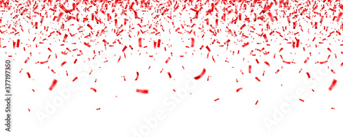 Foto Christmas, Valentines day red confetti on white background