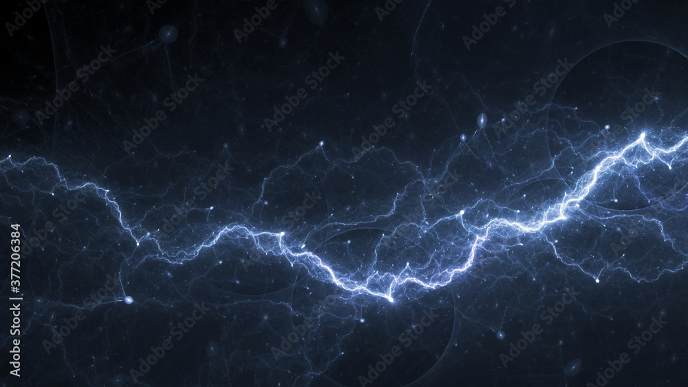 Fototapeta Blue lightning, plasma and electrical background