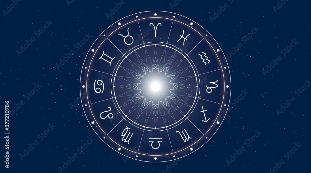Fototapeta Horoscope zodiac signs. Astrological background. Vector symbols. Simple set of outline icons in a circle.