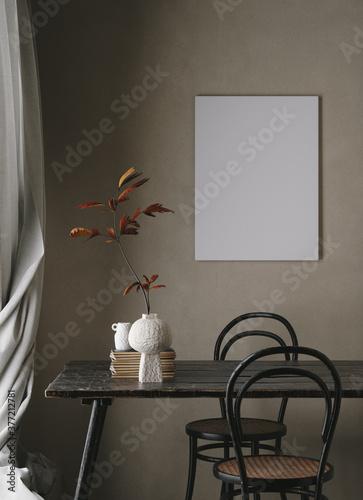 Mock up poster in dark interior background close up, 3d render