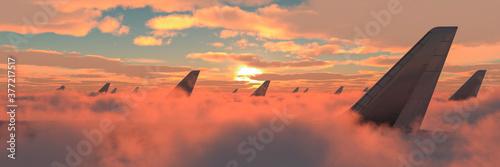 Obraz passenger plane in the sky - fototapety do salonu