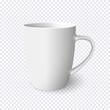 Realistic white mug isolated on transparent background