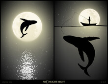 Whale Jumping Above Water On Moonlight Night. Man Silhouette With Fishing Rod And Big Whale Under Water. Lonely Sea Animal In Nature. Full Moon In Starry Sky. Black And White Vector Illustration Set