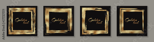 Fotografie, Obraz Modern abstract design or card templates for birthday greeting or certificate or poster with golden grunge squares on a black background