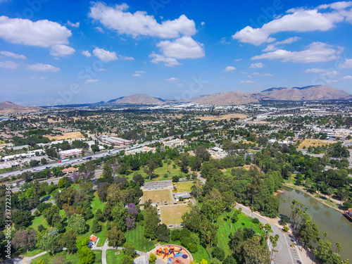 a stunning aerial shot of the city of Riverside California near Lake Evans Canvas
