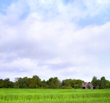 Background Country Farm With Barn
