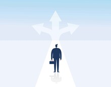 Choice Way Concept. Crossroads Arrows. Decide Direction. Decision Business Metaphor. Businessman Before Choosing. Invester Standing Choice Of Ways. Vector Illustration Eps10 Flat Cartoon Character De