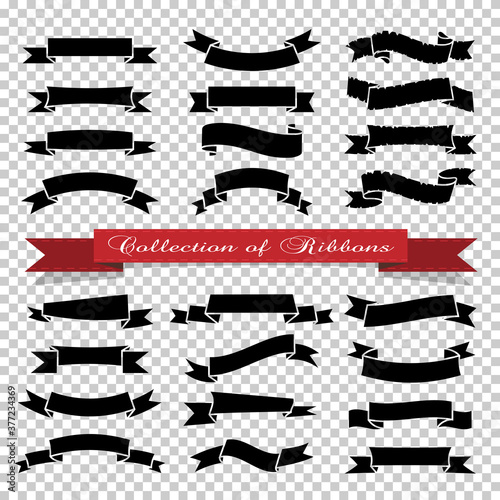 Fototapeta Black ribbons banners on transparent background