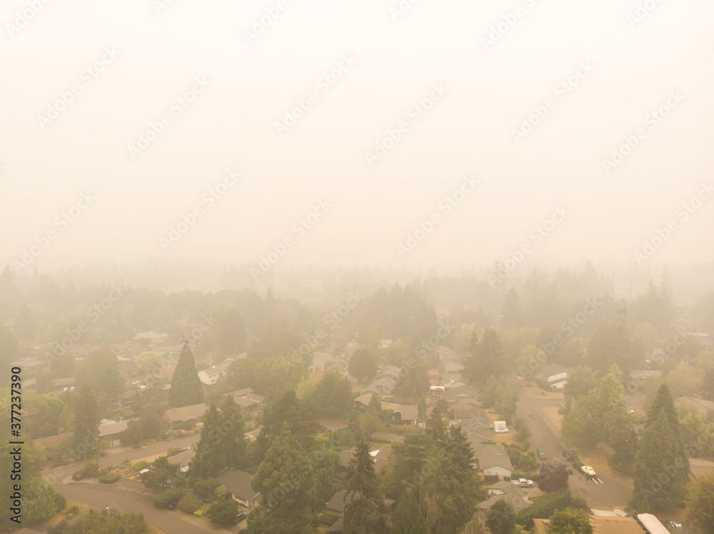 Fototapeta Smoke from a burning forest in a town, burning forests in Oregon, Washington and California. The danger