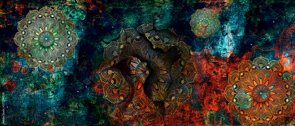mandala colorful dark eyes vintage art, ancient Indian vedic background design, old painting texture with multiple mathematical shapes