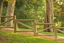 Valla De Madera En La Pradera Junto A Los árboles Y Un Camino En La Hierba