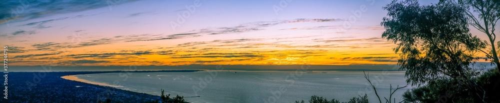 Fototapeta Wide panoramic landscape of sunset over Mornington Peninsula in Melbourne, Australia