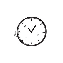 Hand Drawn Time And Clock Vector Linear Icons.Time Management. Timer, Speed, Alarm, Time Management, Calendar Symbol Illustration Vector. Doodle