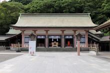 Main Temple Of Terukuni Jinja Shrine In Kagoshima.