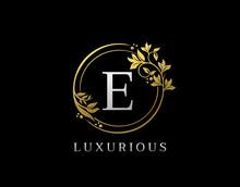Luxury Circle E Letter Floral ...