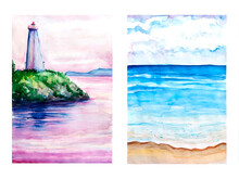 Collection Aquarelle Painting Of Lighthouse Cove. Hand Drawing, Illustration Art.