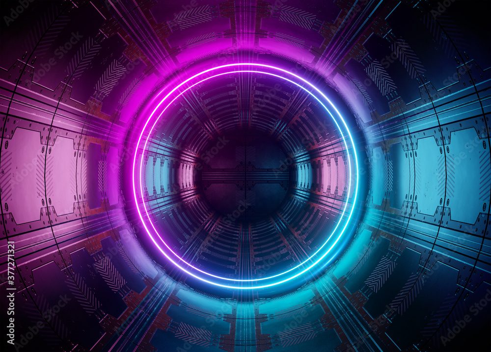 Fototapeta Neon style circle mockup in futuristic piping. Blue and pink modern hologram illuminated by lights in futuristic interior 3D rendering