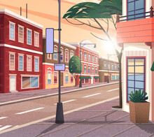 Street Of Town Vector Cartoon Illustration Of The Historic Urban Area With Trees And Streetlight. Cityscape With Vintage Brick Building, Narrow Road And Pedestrian Walkway View From The Corner