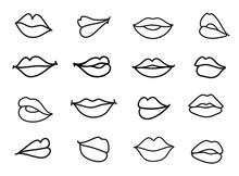 Vector Set Of Lips Illustration. Linear Sketch Women Lips