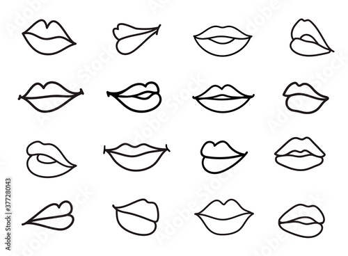 Vector set of lips illustration. Linear sketch women lips Wallpaper Mural