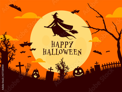Full Moon Graveyard Background with Witch Flying on Broom, Bats, Skeleton Hand and Spooky Pumpkins for Happy Halloween Celebration Canvas Print