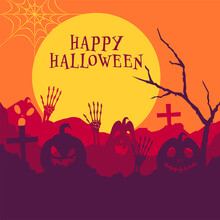 Vector Illustration Of Spooky Pumpkins With Skeleton Hands, Bare Tree And Graveyard On Full Moon Background For Happy Halloween Celebration.