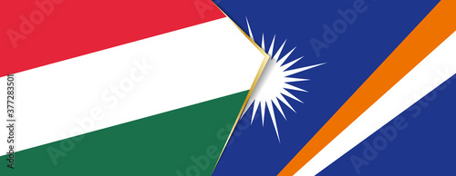 Hungary and Marshall Islands flags, two vector flags. Fotobehang