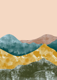 Abstract mountain landscape, Natural landscape background. Minimalist design. Abstract water color for wall decoration, postcard or brochure design.vector illustration. - 377283913